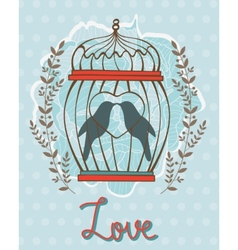 Beautiful love card with birds in cage vector