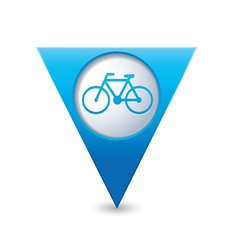 bicycle icon on map pointer blue vector image
