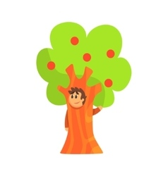 Boy In Costume Of The Apple Tree Performing In vector image
