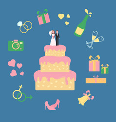 Cake with statuette of groom and bride wed icons vector