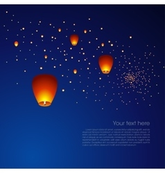 Chinese sky lanterns in a dark night background vector