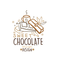 choco sweets shop hand drawn logo template design vector image vector image