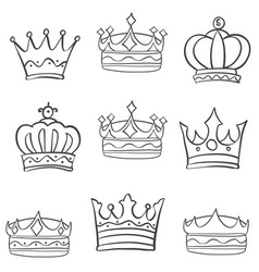 Collection sketch crown hand draw set vector