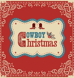 Cowboy christmas card with text on board vector image vector image