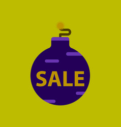 Flat icon of christmas ball sale vector
