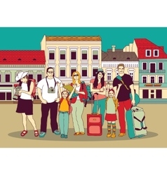 Group tourists people color in abstract city vector