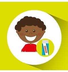 Happy boy student eraser icon graphic vector