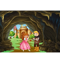 Hunter and princess in the cave vector image vector image