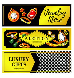 Jewelry horizontal banners vector