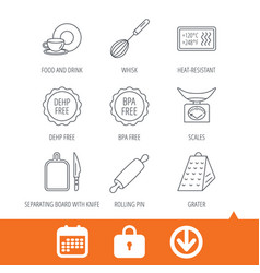 kitchen scales whisk and grater icons vector image vector image