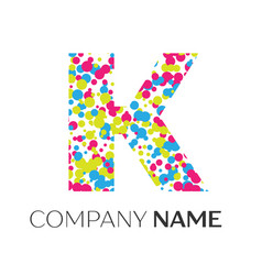 Letter k logo with blue yellow red particles vector