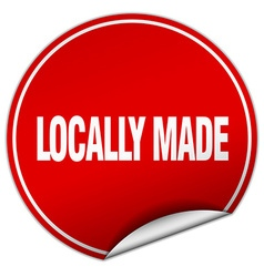 Locally made round red sticker isolated on white vector