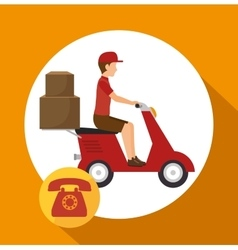 Man courier service package telephone vector