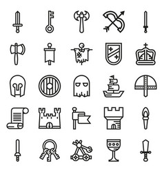 medieval icon set of outline icons vector image