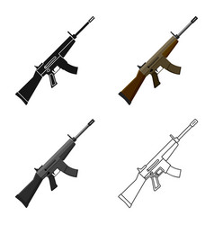 Military assault rifle icon in cartoon style vector