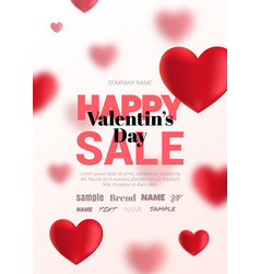 Modern poster with blurry hearts for sale vector