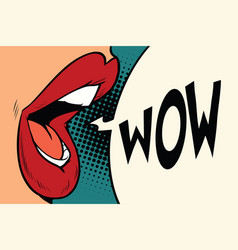 pop art mouth wow vector image vector image