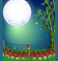scene with fullmoon over the bridge vector image vector image