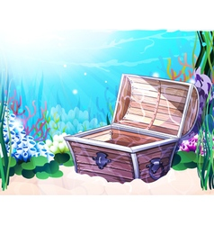 Sea bottom with old chest vector