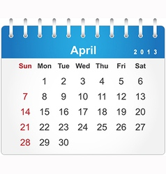 Stylish calendar page for April 2013 vector image