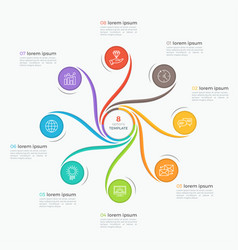 Swirl style infographic template with 8 options vector