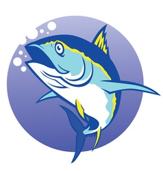 tuna in deep blue sea vector image vector image