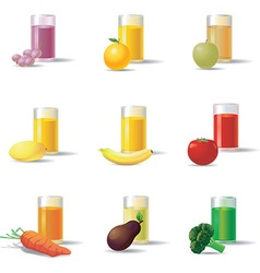 Vegetable and fruit juice set vector
