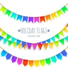 Vivid colors rainbow flags garlands set isolated vector image