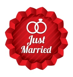 Wedding star just married sticker with rings vector