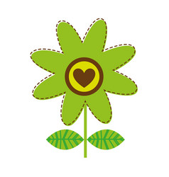 White background with green daisy flower with vector