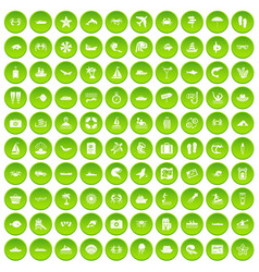 100 sea life icons set green vector