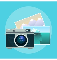Vintage camera and pix vector