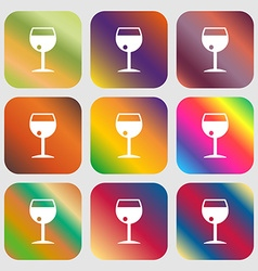 Glass of wine icon nine buttons with bright vector