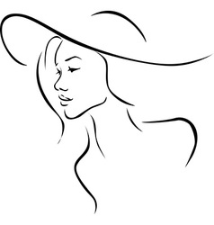 Beautiful young woman with hat profile - black vector