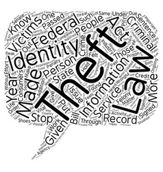 Identity theft law text background wordcloud vector