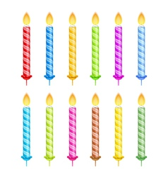 Striped birthday candles vector