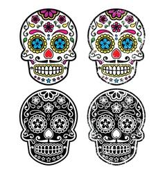 Mexican retro sugar skull Dia de los Muertos vector image