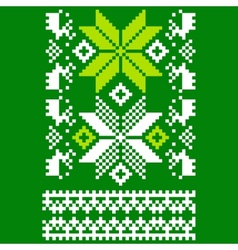 Green knitted scandinavian scarf vector
