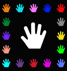 Hand icon sign lots of colorful symbols for your vector