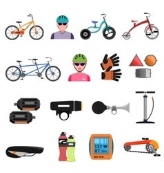 Bicycle icons flat set vector