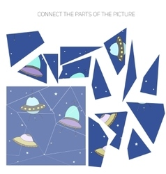 Educational game connect the parts of picture vector