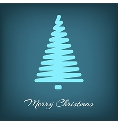 Simple blue christmas tree in outlines vector