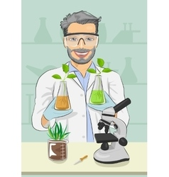 Mature man biologist with protective glasses vector