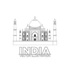 Taj mahal  symbol in black vector