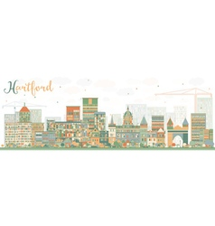 Abstract hartford skyline with color buildings vector