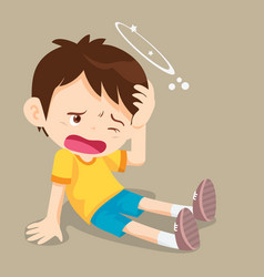 Boy sitting have dizziness vector