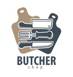 butcher shop logotype with cutleries on vector image vector image