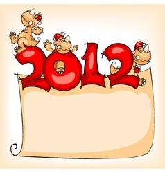 christmas banner dragon 2012 vector image