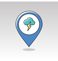 Cloud Lightning pin map icon Meteorology Weather vector image