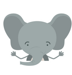 Colorful half body caricature of cute elephant vector